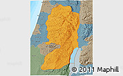 Political 3D Map of West Bank, semi-desaturated, land only