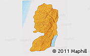 Political 3D Map of West Bank, single color outside