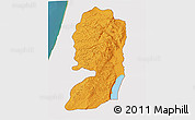 Political 3D Map of West Bank, single color outside, satellite sea