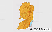 Political Shades 3D Map of West Bank, cropped outside