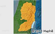 Political Shades 3D Map of West Bank, darken