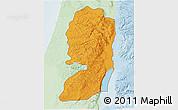 Political Shades 3D Map of West Bank, lighten