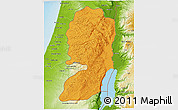 Political Shades 3D Map of West Bank, physical outside
