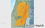 Political Shades 3D Map of West Bank, semi-desaturated, land only