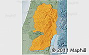 Political Shades 3D Map of West Bank, semi-desaturated