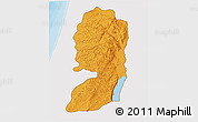 Political Shades 3D Map of West Bank, single color outside