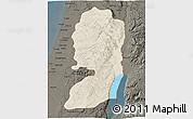 Shaded Relief 3D Map of West Bank, darken