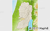 Shaded Relief 3D Map of West Bank, physical outside
