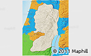 Shaded Relief 3D Map of West Bank, political outside, shaded relief sea