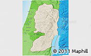 Shaded Relief 3D Map of West Bank, political shades outside, shaded relief sea