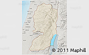 Shaded Relief 3D Map of West Bank, semi-desaturated, land only