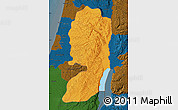 Political Map of West Bank, darken