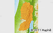 Political Map of West Bank, physical outside