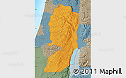 Political Map of West Bank, semi-desaturated, land only