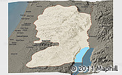 Shaded Relief Panoramic Map of West Bank, darken