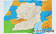 Shaded Relief Panoramic Map of West Bank, political outside, shaded relief sea