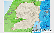 Shaded Relief Panoramic Map of West Bank, political shades outside, shaded relief sea