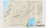 Shaded Relief Panoramic Map of West Bank