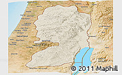 Shaded Relief Panoramic Map of West Bank, satellite outside, shaded relief sea