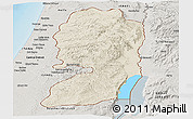 Shaded Relief Panoramic Map of West Bank, semi-desaturated, land only