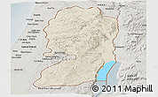 Shaded Relief Panoramic Map of West Bank, semi-desaturated