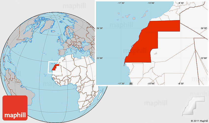 Gray Location Map of Western Sahara highlighted continent