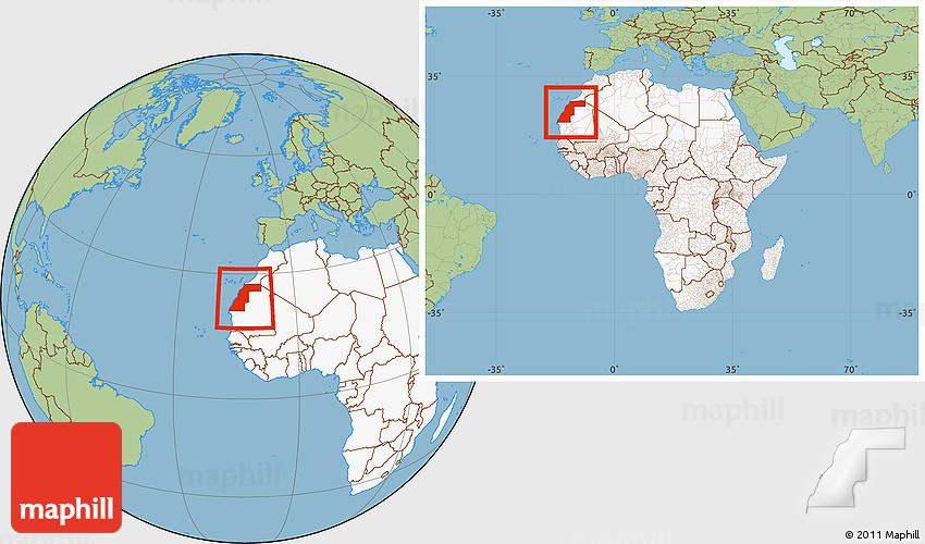 Savanna Style Location Map of Western Sahara highlighted continent