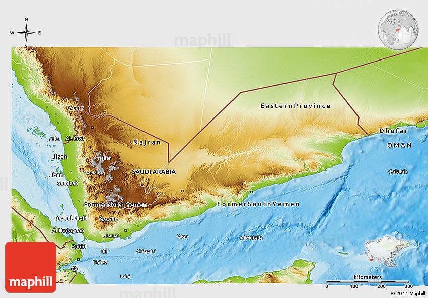 Physical D Map Of Yemen - Map of yemen