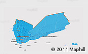 Political Shades 3D Map of Yemen, cropped outside