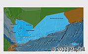 Political Shades 3D Map of Yemen, darken