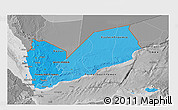 Political Shades 3D Map of Yemen, desaturated