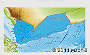 Political Shades 3D Map of Yemen, physical outside