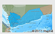 Political Shades 3D Map of Yemen, semi-desaturated, land only
