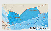 Political Shades 3D Map of Yemen, shaded relief outside, bathymetry sea