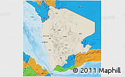 Shaded Relief 3D Map of North Yemen (1), political outside