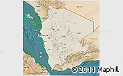Shaded Relief 3D Map of North Yemen (1), satellite outside