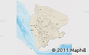 Shaded Relief 3D Map of North Yemen (1), single color outside
