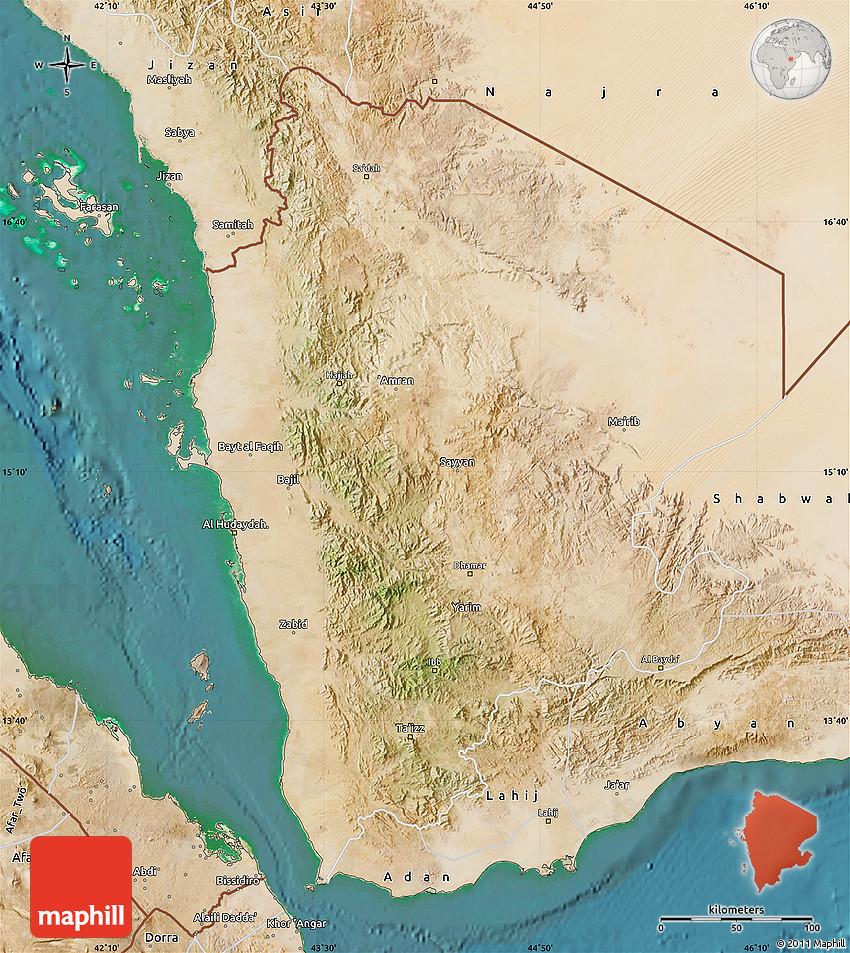 Satellite Map of North Yemen (1) on detailed map of yemen, road map of yemen, outline map of yemen, terrain map of yemen, political map of yemen, physical map of yemen, topographic map of yemen,