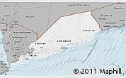 Gray 3D Map of Former South Yemen