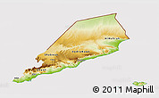 Physical 3D Map of Former South Yemen, cropped outside