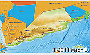 Physical 3D Map of Former South Yemen, political outside