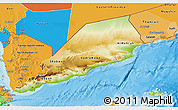 Physical 3D Map of Former South Yemen, political shades outside