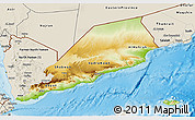 Physical 3D Map of Former South Yemen, shaded relief outside