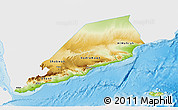 Physical 3D Map of Former South Yemen, single color outside