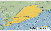 Savanna Style 3D Map of Former South Yemen