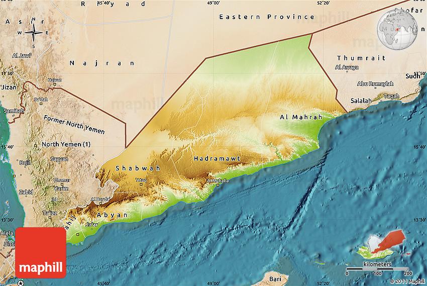 Physical Map of Former South Yemen, satellite outside on detailed map of yemen, road map of yemen, outline map of yemen, terrain map of yemen, political map of yemen, physical map of yemen, topographic map of yemen,