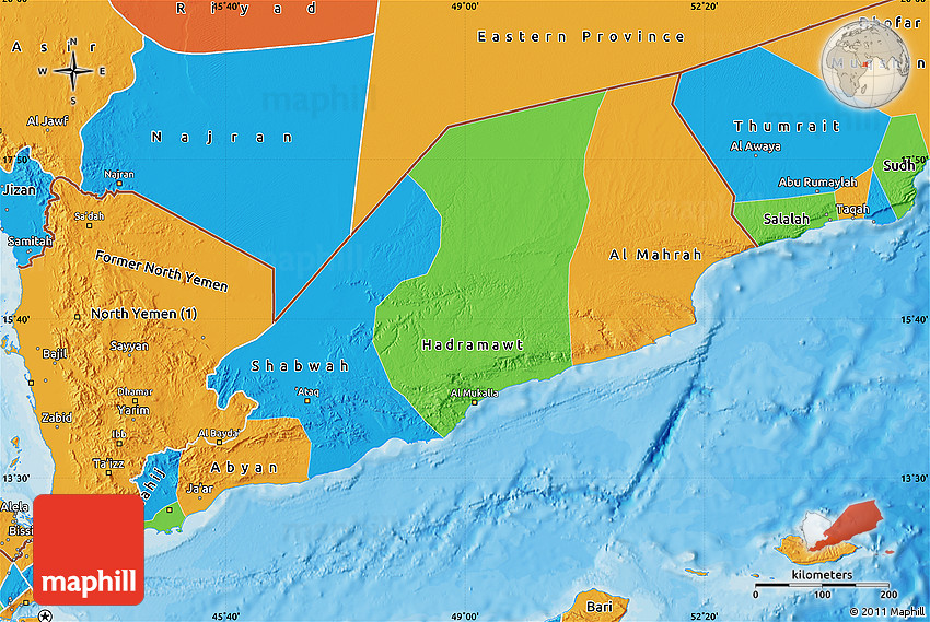 Political Map of Former South Yemen