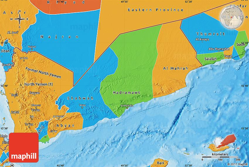 Political Map Of Yemen.Political Map Of Former South Yemen