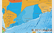 Political Shades Map of Former South Yemen