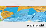Political Shades Panoramic Map of Former South Yemen